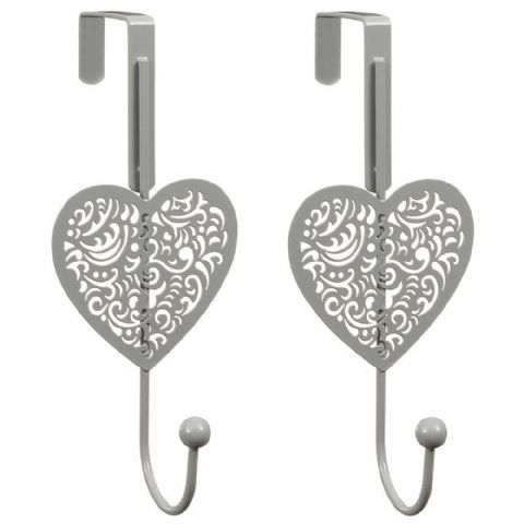Overdoor Grey Heart 2 Pk